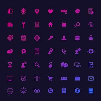 49 иконок для интернета, приложений и инфографики, универсальные, бизнес, коммерция, технологии