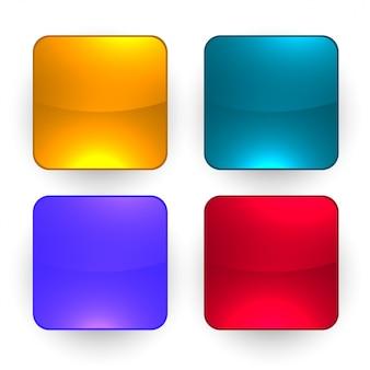 4つの光沢のある空のボタンセット