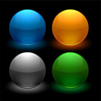 4色の光沢のあるボタンセット