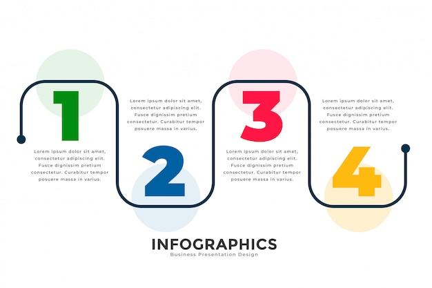 スタイリッシュな4つのステップの近代的なラインインフォグラフィックテンプレート