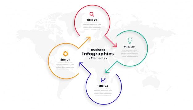 4つのステップの方向線インフォグラフィックテンプレート