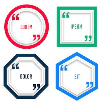 太線スタイルの4つの幾何学的引用符テンプレート