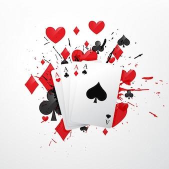 4枚のエースポーカーのカードイラスト