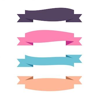フラットベクター4つの異なる水平方向のリボン