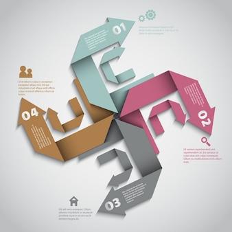 4矢印付きのインフォグラフィック