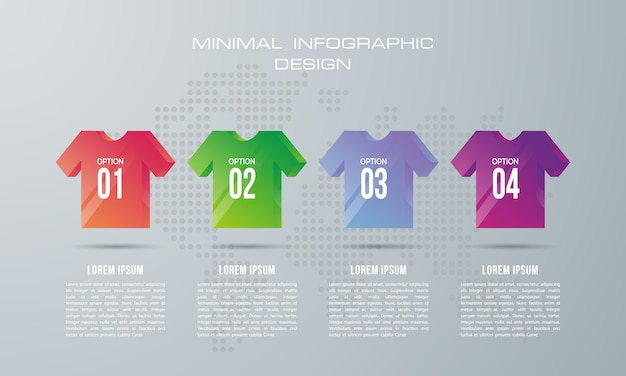 4つのオプション、ワークフロー、プロセスチャート、タイムラインのインフォグラフィックデザインを持つインフォグラフィックテンプレート