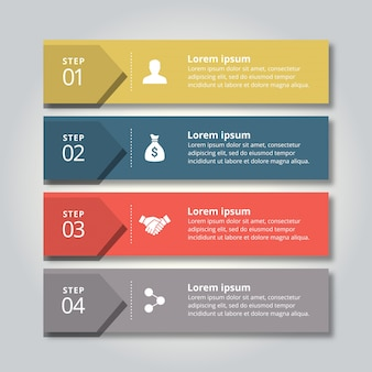4 этапа инфографики с желтыми синими красными и серыми цветами
