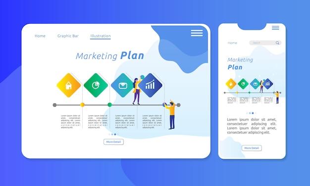 4つのセクションでマーケティング計画のためのインフォグラフィック