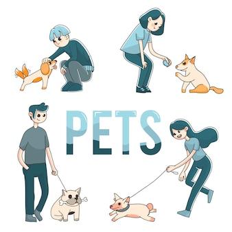 かわいいペットの犬を持つ4人