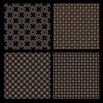 4つの幾何学的なシームレスパターン-ケルトスタイルのセット