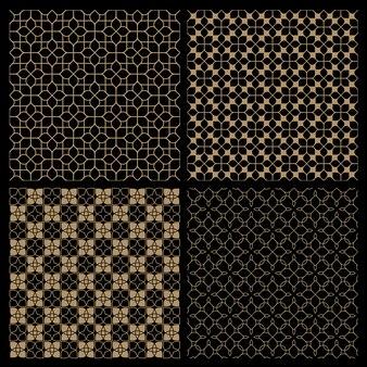 オリエンタルスタイルの4つの暗いシームレスな花パターンのセット