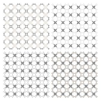 アラビア語をモチーフにした4つの繊細なシームレスパターンのセット