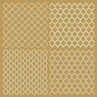 4つの伝統的なアラビア語の繊細なパターンのセット