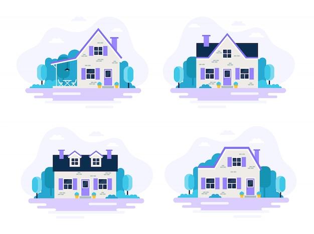 Симпатичные дома с садом, набор из 4 домов.