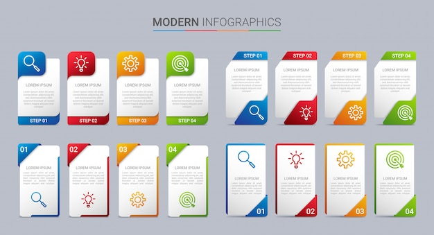 4つのステップを持つカラフルなタイムラインインフォグラフィックテンプレート