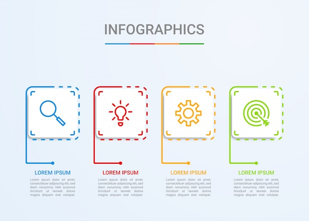 ビジネスデータの可視化、4つのステップを持つインフォグラフィックテンプレート
