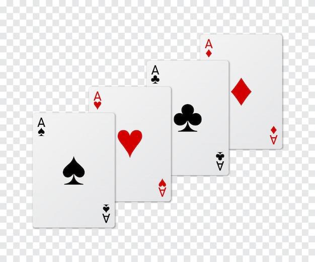4つのエースポーカーカードのセット。