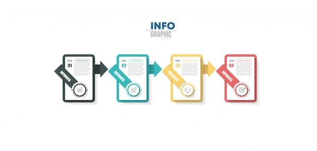 アイコンと4つのオプションまたは手順を持つインフォグラフィック要素。