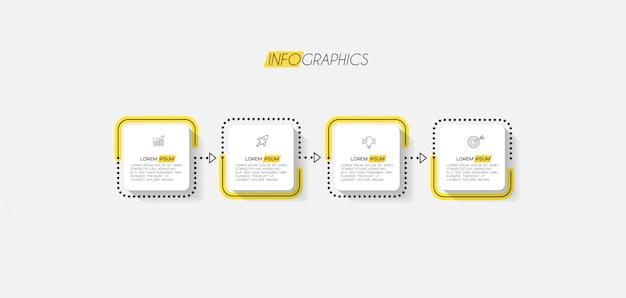アイコンと4つのオプションまたは手順のインフォグラフィック要素。