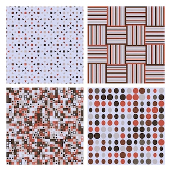 4つの装飾的なレトロなシームレスパターンのセット。壁紙、パターンの塗りつぶしのベクトルシームレステクスチャ