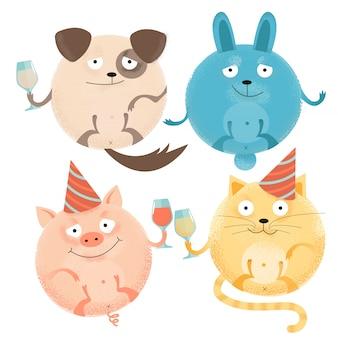 Набор из 4 веселых круглых животных на праздник с бокалами в праздничных шапках. счастливая улыбающаяся собака, кролик, кошка, свинья.