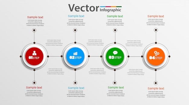 カラフルなサークルと4つのステップのインフォグラフィック