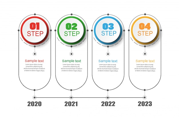 4つの番号オプションとステップを備えたタイムラインインフォグラフィック