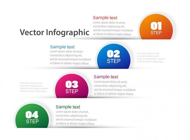 4つのステップまたはオプションのインフォグラフィックデザインテンプレート