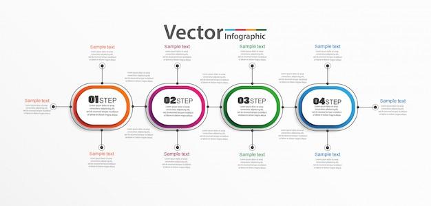 4つのオプション、手順、またはプロセスを備えたインフォグラフィックデザインベクトル