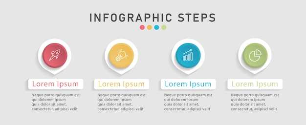 ワークフローレイアウト、図のタイムラインインフォグラフィックデザインテンプレート。 4つのオプション、ステップ、またはプロセスを備えたビジネスコンセプト。