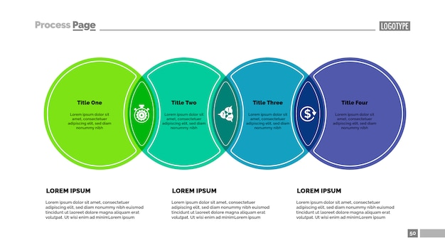 4つの円のプロセスチャートテンプレート。ビジネスデータ。