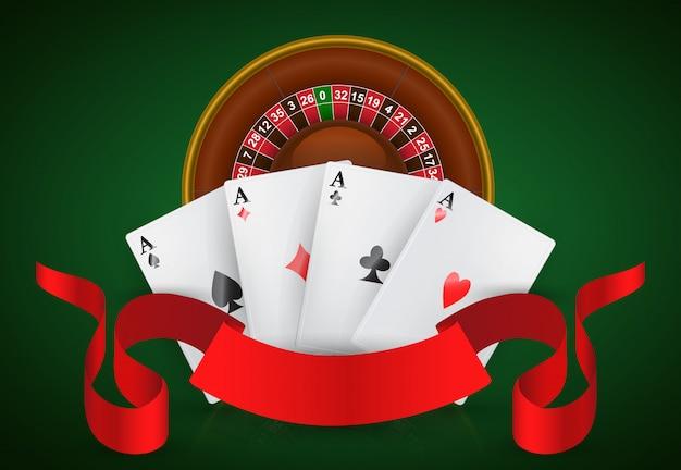 カジノルーレット、4エース、赤いリボン。カジノビジネス広告