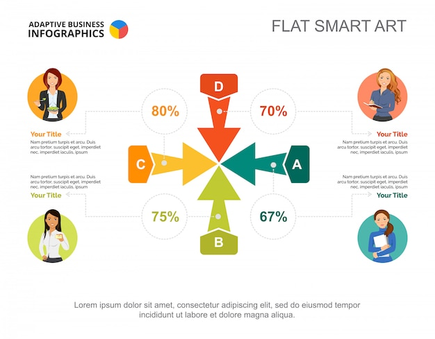 プレゼンテーションのための4つの矢印パーセンテージチャートテンプレート。ビジネスデータ。