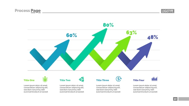 4つの矢印パーセンテージチャートテンプレート。ビジネスデータ。図の抽象要素