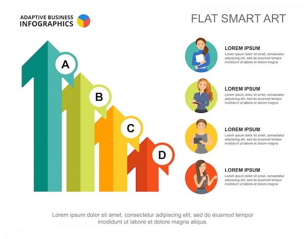 4つの矢印は、プレゼンテーション用のチャートテンプレートを処理します。ビジネスデータの視覚化。