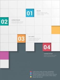 シンプルなスタイリッシュな4ステップチェッカーボードスタイルの多色インフォグラフィックテンプレート。