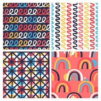 手描きのテクスチャを持つ4創造的なシームレスパターンのセット