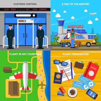 Аэропорт концепт 4 плоские иконки площадь