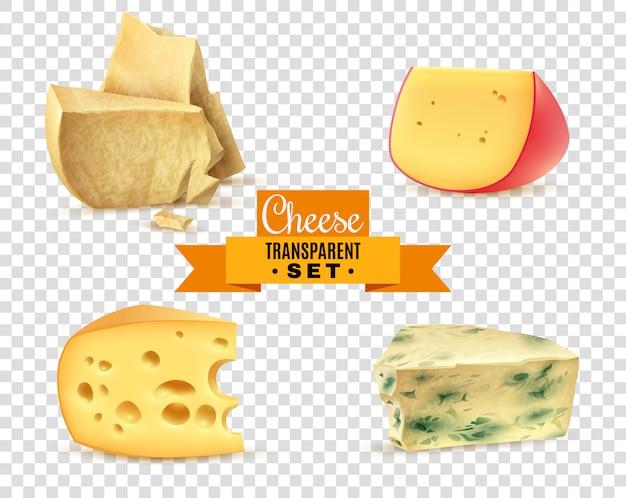 チーズ4枚のリアルな画像透明セット