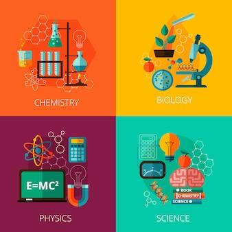 科学概念4フラットアイコン組成アイコン