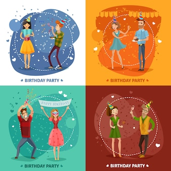 誕生日パーティー4アイコンの正方形構成