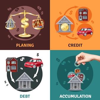 債務クレジットコンセプト4フラットアイコン