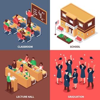 学校4等尺性のアイコンの概念