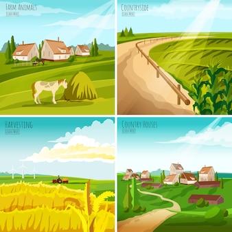 Сельская местность 4 плоские пиктограммы площадь композиция