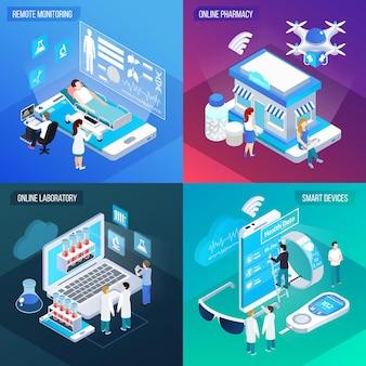 Дистанционная медицинская служба телемедицины 4 изометрических красочных квадрата с интерактивными лабораторными мобильными устройствами