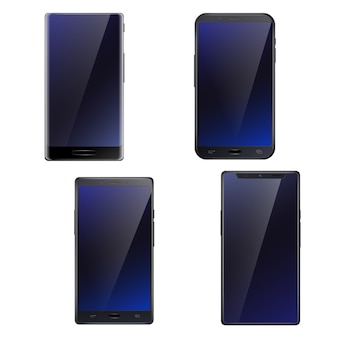 美しいダークブルーの光沢のあるすべての画面フロントタッチスクリーンスマートフォン現実的な4携帯電話設定分離の図