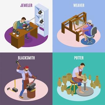 職人等尺性4のアイコン正方形手織機ウィーバー職人宝石職人鍛冶屋ポッター分離