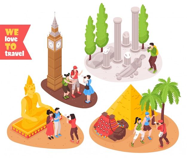 旅行の旅コンセプト4等尺性組成物エジプトピラミッドロンドンビッグベンローマを訪れる観光客