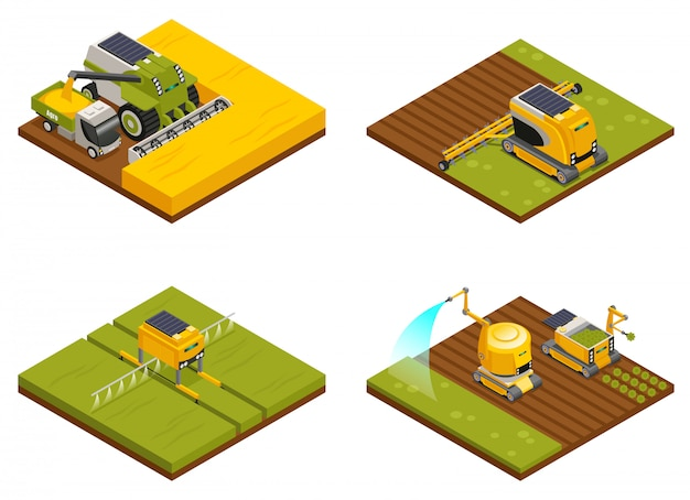 Концепция сельскохозяйственных роботов 4 изометрической композиции с мотыгой, вспашкой, посадкой, поливом, удобрениями и уборочной техникой