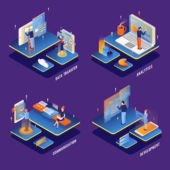 Люди, использующие концепцию компьютерных коммуникационных интерфейсов. 4 изометрические композиции с разработкой анализа передачи больших данных.